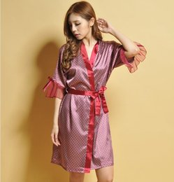 Wholesale Transparent Bathrobes - 2017 New! Fashion Women's Summer sleepwear Robes Pure Lace decorate bathrobe Nightgown Home Furnishing Transparent Robes Average size 7759