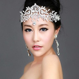Wholesale Crowns Tiaras Women - New Luxury Leaf Bride Frontlet Crystal Headpieces Headband Bridal Hair Accessories Vintage Princess Women Wedding Hair Jewelry Crown Tiara
