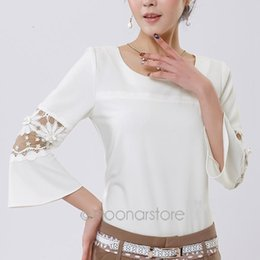 Wholesale Peplum Korea - S M L XL Hollow Out Elegant Women Korea Style Flared Peplum O-Neck Shirts Chiffon Lace Sleeve Blouse Tops