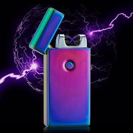 Wholesale Green Electronic Usb Lighter - 2017 New Double fire cross lighter twin arc pulse Electronic lighter electric arc gold colorful charge usb lighters sexy ice man