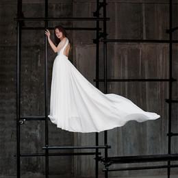 Wholesale Gown Upper - A line Backless Sexy Wedding Dress Deep V Neckline Beach Upper body Simple Elegant Bridal Gown