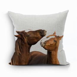 Canada En gros-taie d'oreiller housse d'oreiller pour animaux de salon cheval coton lin oreiller casse fronha capa de almofada organizadores para Casa 4 cheap animal pillow wholesale Offre