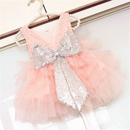 Wholesale Girls Lace Pearls Dress - Retail 2017 Summer New Girl Princess Dress Pearl Lace Sequins Bow Tiered Fluffy Tulle Party Dress Children Clothing 2-7Y 16145