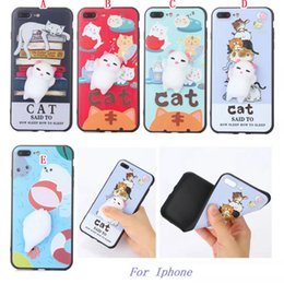 Wholesale Dolls For Cell Phones - 3D Doll Soft TPU Case For Iphone 8 7 6 6S 5 SE 5S Huawei P10 Plus Mate9 Honor 8 9 Cartoon Cat Ball Fashion Cute Cell phone Skin Cover 100pcs