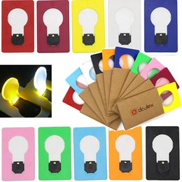 Wholesale wallet sized led light - Portable LED Card Pocket Light Bulb Lamp Wallet Size New Design Night Light Children's Led Night Light Mini Night Lights