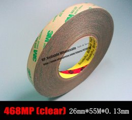 Wholesale Double Sided Nail Tape - Wholesale- 2016 (26mm *55 Meters *0.13mm) 3M 468MP Transparent Scotch Double Sided Adhesive Transfer Tape for Fake Nail, Wig, PCB Parts As