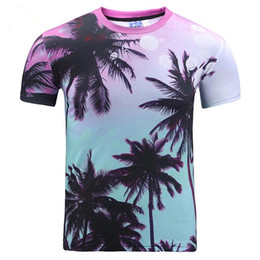 Wholesale New Arrival Women Shirt - 3D T shirts New Arrival Men women 3d t-shirt summer tops print seaside Coconut trees cool digital print tees t shirt