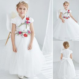 Wholesale Wedding Ballgown Short Sleeve - Vintage Style White Lace Tulle Empire Girls Kids Chinese Cheongsam Full Length Cute Baby Formal Wedding Flower Girl Princess Prom Ballgown