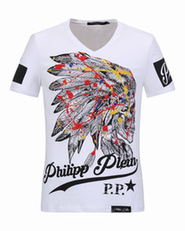 Wholesale Cheap V Neck Tshirts - Luxury mens V-Neck Polo tshirts with Colorful Feathers Skulls & Diamond 3D Printed t shirts cheap price Short Sleeve Mens Jacket 18253