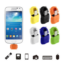 Wholesale Smartphone Mi - Android Robot OTG Cable Micro 5pin to USB Adapter for Tablet Computer U-Disk Keyboard MI HTC LG Smartphone