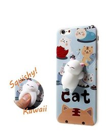 Wholesale Iphone Silicon Cat Cases - Squishy Cat Pad White Bear Poke Squishy Cat Seal Kawaii Cute Soft Silicon TPU Shell Squeeze Squishies Phone Case For iPhone 6 6Plus 7 7Plus