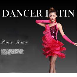 Wholesale Tango Latin Dress - Women Latin Dance Dress Fringe Women Ballroom Dancing Dresses Latin Dance Costume Dance Latin Dresses Tango Dress Samba Skirts