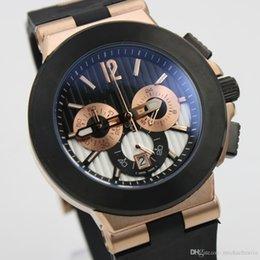 Wholesale Golden K - Luxury brand watch men Chronograph Watches k-Golden Case Diagono Chrono chronograph working Sapphire Crystal Rubber Bands Sport men's watch