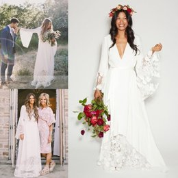 Wholesale Boho Wedding Dress Beach - 2017 Boho Beach Wedding Dresses Bohemian Long Bell Sleeve Lace Flower Bridal Gowns Plus Size Hippie Wedding Dress