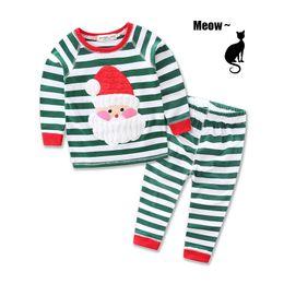 Wholesale White Santa Claus Suit - Santa Claus suits 2016 santa claus baby costume kids boys girls long-sleeved stripe T-shirt+stripe pants christmas suits 2 pcs