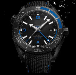 Wholesale Planet Ocean Blue - New Style AAA Top Quality Planet Ocean 600M GMT Deep Black And Blue Automatic Machinery Casual Mens Watch Men's Sport Wrist Watches