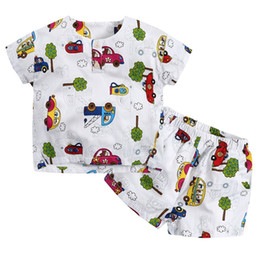 Wholesale Play Boy Clothes - Baby Boy Clothes Cars Tree Printed Cute Baby Tshirt Short 2pcs Clothing Set Retail Summer Boy Playing Outfit 6Y Cotton Boy Outfit