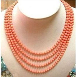 """Wholesale Coral Beads Necklace Rows - Free Shipping >>>>Charming 4 rows 6-7mm Pink coral beads necklace 17 """"-20""""AAAA"""