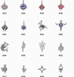 Wholesale Gem Oils - 128 Styles Essential Oil Spread Fashion love wish pearl gem beads locket cages Pendants DIY Pearl Necklace charm pendants mountings