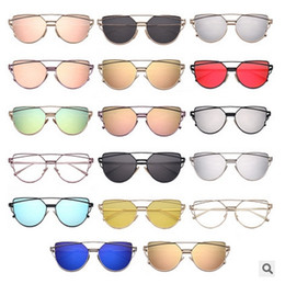 Wholesale Unique Mirror Frames - Fashion Cat Eye Sunglasses Women Brand Fashion Rose Gold Mirror Sun Glasses Unique Flat Ladies Sunglasses Oculos UV400