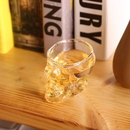 Wholesale Crystal Skull Head Whiskey Glass - Crystal Skull Head Wine Glasses 80ML Skull Vodka Whiskey Shot Glass Double Layer Pirate Vaccum Glasses Beer Mug Drinking Ware 200pcs OOA2318