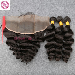 weave frontals Promo Codes - 8A Malaysian Loose Wave with Frontal Ear to Ear Closure With Bundles Baby Hair Human Hair Weave Lace Frontals and Bundle Deals