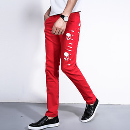 Wholesale Pu Pants - Wholesale- new 2016 men's leather pants PU leather straight red cultivate one's morality pants