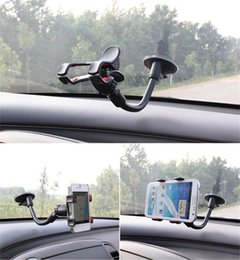 Wholesale Car Windshield Stand Phone - 360 Rotating Car Windshield Mount Phone Soft Tube Universal Car Holder Bracket Stands mobile Phone Holder for iPhone 6 7 Samsung