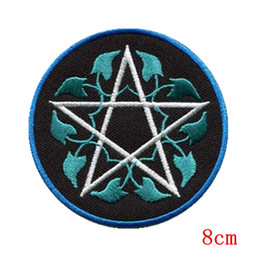 Wholesale Wicca Pentacle - Pentagram pagan pentacle wicca white witchcraft applique iron on patch