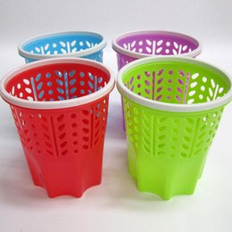Wholesale Storage Paper Baskets - Home Trash Can Plastic PP Material Hollow Office Trash Bin No Cover Band Pressure Ring Storage Bucket 27*16*26.5cm