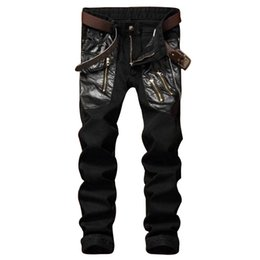 Wholesale Hip Hop Mens Leather Pants - Wholesale- MCCKLE New Fashion Mens Slim Fit Jeans Leather Patchwork Fashion Denim Pants Multi Zipper Men's Hip Hop Biker Jeans Trousers
