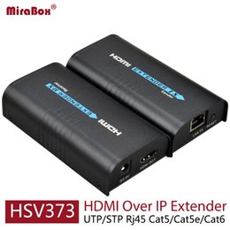 Wholesale Rj45 Extender - HSV373 HDMI Extender Ethernet Support 1080P 120m HDMI Extender Ethernet Over Cat5 Cat5e Cat6 Rj45 HDMI Over IP Extender