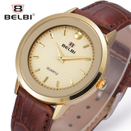 Wholesale Watches Brass Case - BELBI Luxury Men Watches Fashion Leather Watch Band Water Resistant Japanese Quartz Movement Alloy Case Simple Male Wristwatches