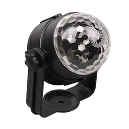 Wholesale Mini Rotating Magic Crystal Ball - Wholesale-Car LED Music Lights DJ Mini RGB 18w LED MP3 Club Disco Party Crystal Magic Ball Stage Effect Rotating Bulb With USB Interface