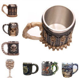 resina di lupi Sconti Carattere 3D Skull lupo re marchio tazza che ristabilisce i sensi antichi resina tazza di caffè in acciaio inox tazza di acqua IB068