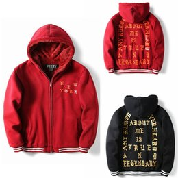 Wholesale Thick Hooded Cardigan Sweater - Kanye West High quality Fleece Hoodies Lamb Hooded Letters Hoodies Kanye West Thick Hooded Sweater Lover Streetwear Red M-XXL Free Shippiing