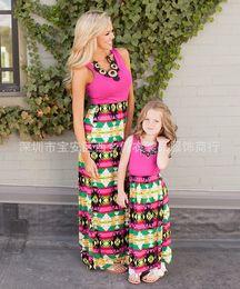 Wholesale Long Sundresses For Women - Mother daughter dresses Geometric prints maxi dresses for women family matching clothes slim sleeveless long dresses Kids Sundress 2017