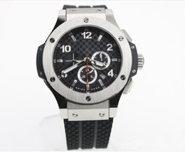 Wholesale Automatic Watch Big Case - high quality luxury dress big bang automatic silver case black dial mens watch HB303 rubber band men watches