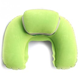 Wholesale Water Cooled Air - Wholesale- New Portable Folding Inflatable Neck Air Cushion U Shape Neck Travel Pillow Comfortable Business Trip Pillow Outdoor Office