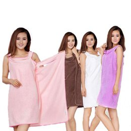 Wholesale shower robes - Magic Bath Towels Lady Girls SPA Shower Towel Body Wrap Bath Robe Bathrobe Beach Dress Wearable Towels