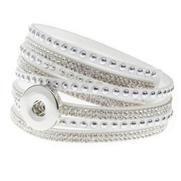 Wholesale Hot Fix White Rhinestones - 10 Colors noosa multilayer genuine leather bracelet hot fix rhinestone snap button bracelets women wide band bangles new