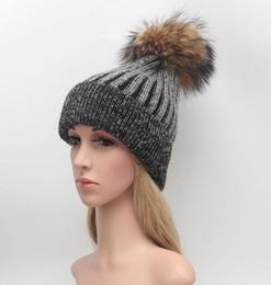 Wholesale Girl S Crocheted Hats - Fashion Raccoon fur ball cap pom poms winter hat for women girl 's beanie hat knitted beanies crochet cap brand new thick female cap