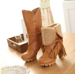 Wholesale High Heels Thick Beige - 2016 New Fashion Women Warm Snow Boots winter women riding boots female high heels thick heel women's boots lace up high boots