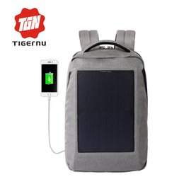 Wholesale Cell Phones Bottles - Wholesale- Tigernu New 10W Solar Powered & Anti-Theft Backpack with Solar Panel Bottle Bag Men and Women Laptop Bag