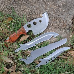 Wholesale Outdoor Axes - 4 pieces lot Outdoor Multi Folding Survival Tools Knife + Axe + Wrench + Saw Camping Travel Kit Tactical Hunting Knives Machete