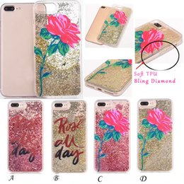 Wholesale Plastic Rose Beads - Liquid Flower Rose Glitter Sparkle Beads Case for iphone 7 Plus 6 6S Hard Plastic Clear Cover TPU 3D Diamond Floating Dynamic Magical Skin