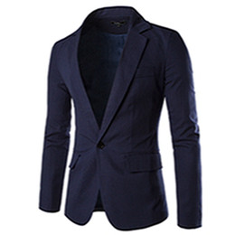 Wholesale Leisure Suit Models - Wholesale- 2016 Spring New Korean Men's Fashion Wild Solid Color Basic Models of High-quality Single Row of a Buckle Leisure Suit Jacket