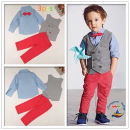 Colores esmoquin online-Baby Boy Formal Party Wedding Tuxedo Waist Coat Outfit Suit Moda para niños Casual 3 unids Uniformes 2 colores