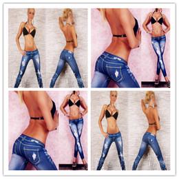 Wholesale Drawing Leggings - Classic blue Imitation cowboy leggings nine minutes of pants tattoo tattoo coloured drawing or pattern leggings 06