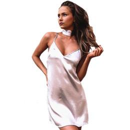 Wholesale Rayon Black Dress - Smoves Women Sexy Deep V Neck Back Criss Cross Choker Neck Silk Satin Slip Dress A-Line Shinning Party Dresses Vestidos GD333